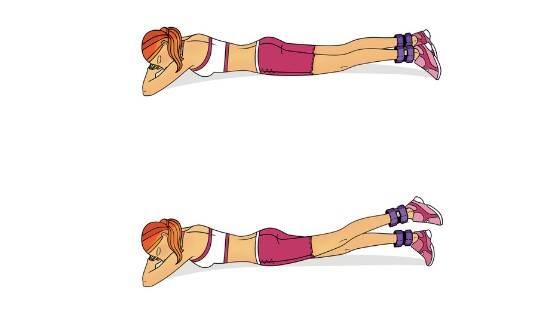 بالا آوردن پا در حالت دمر حرکتی برای تسکین درد استخوان لگن